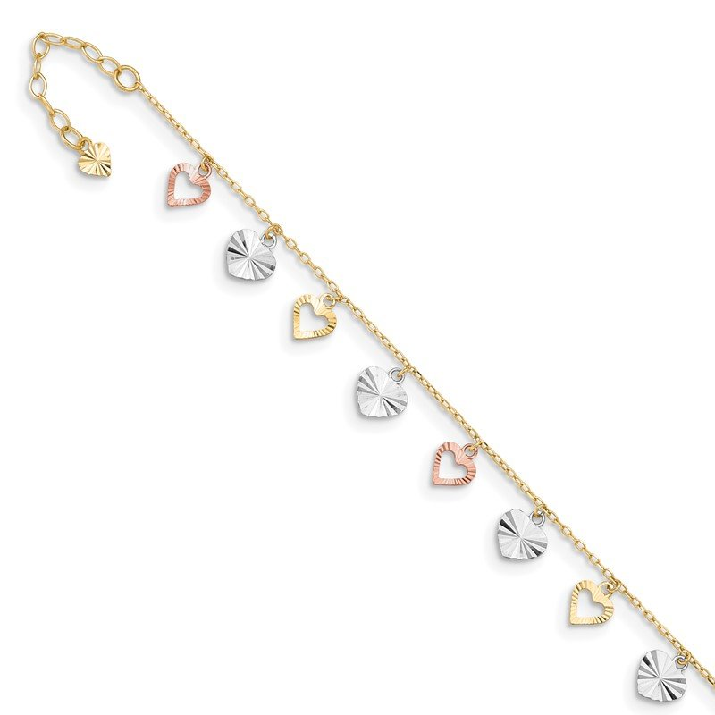 Quality Gold 14K Tri-Color Heart 9in Plus 1in ext Anklet