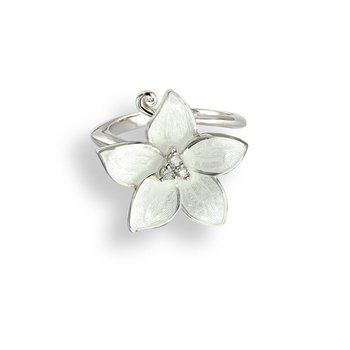 White Stephanotis Ring.Sterling Silver-White Sapphire