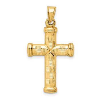 14k Hollow Diamond-cut Cross Pendant