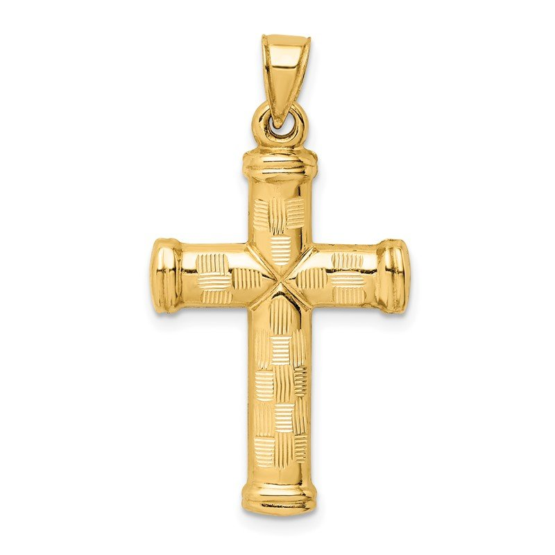 Quality Gold 14k Hollow Diamond-cut Cross Pendant