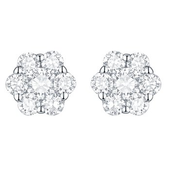 Smiling Rocks 0.53Ct G-H/VS1 Lab Grown Diamond 7-Stone Cluster Stud Earring