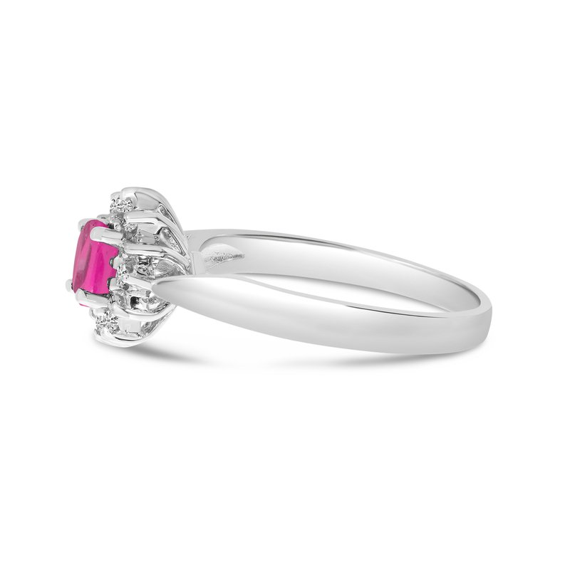 14k White Gold Oval Pink Topaz And Diamond Ring