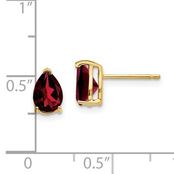 14k 7x5mm Pear Garnet Earrings
