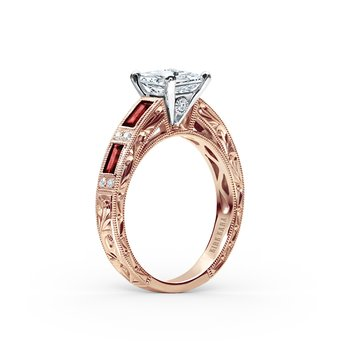 Ruby Colorful Diamond Deco Engagement Ring