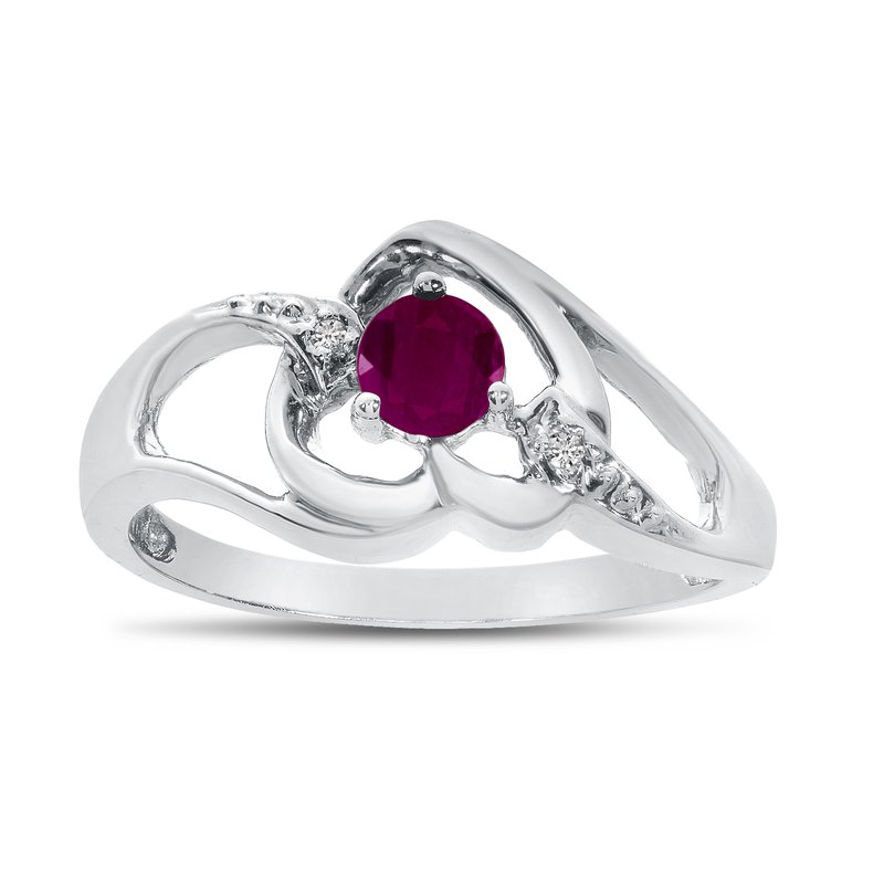 Color Merchants 10k White Gold Round Ruby And Diamond Heart Ring