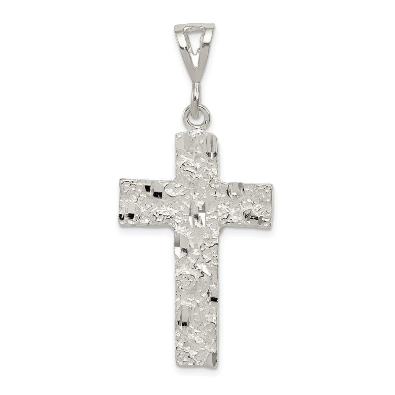 Quality Gold Sterling Silver Nugget Cross Pendant
