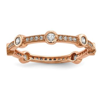 Sterling Silver Brilliant Embers Rose Gold-plated CZ Ring
