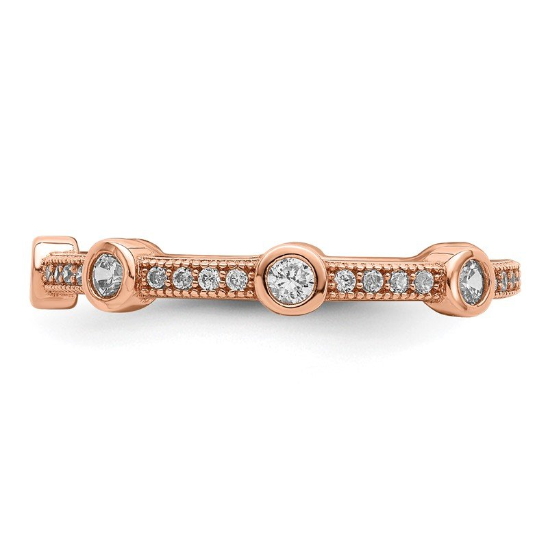 Quality Gold Sterling Silver Rose Gold Plated & CZ Brilliant Embers Ring