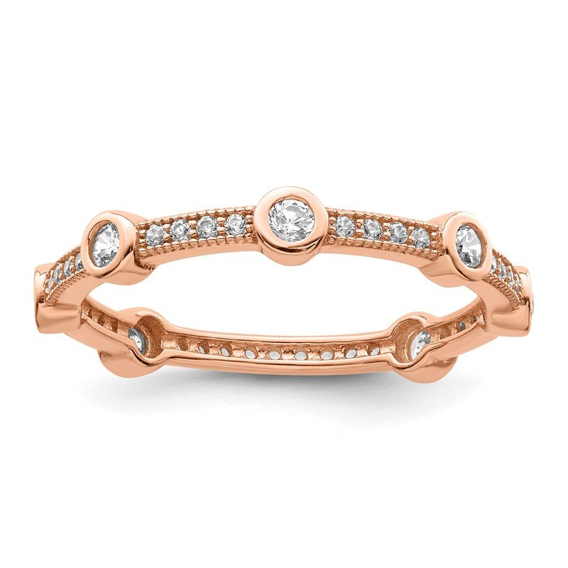 Quality Gold Sterling Silver Brilliant Embers Rose Gold-plated CZ Ring