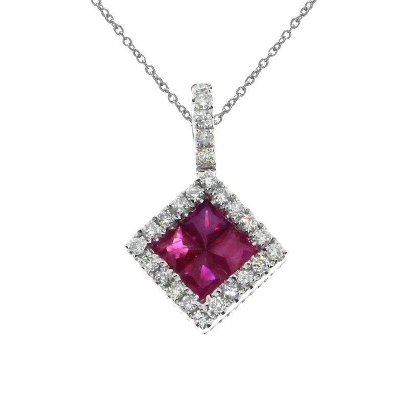 14K White Gold Ruby Princess Pendant