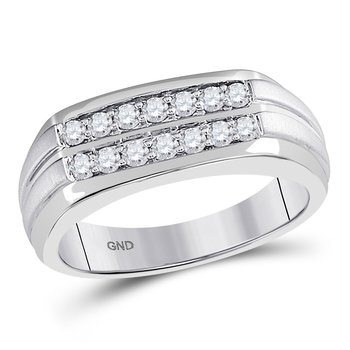14kt White Gold Mens Round Diamond Double Row Wedding Band Ring 1/2 Cttw