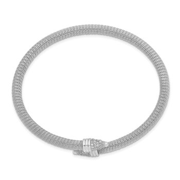 Sterling Silver Polished Rhodium-plated Fancy CZ Bangle