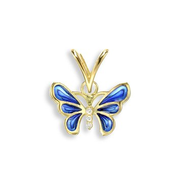 Blue Butterfly Pendant.18K -Diamond - Plique-a-Jour