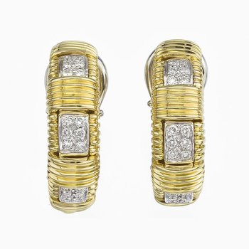 18Kt Gold Single Row Earring With Diamonds