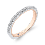 18K Two-Tone Gold Round Cut Diamond Half-Eternity Wedding Band
