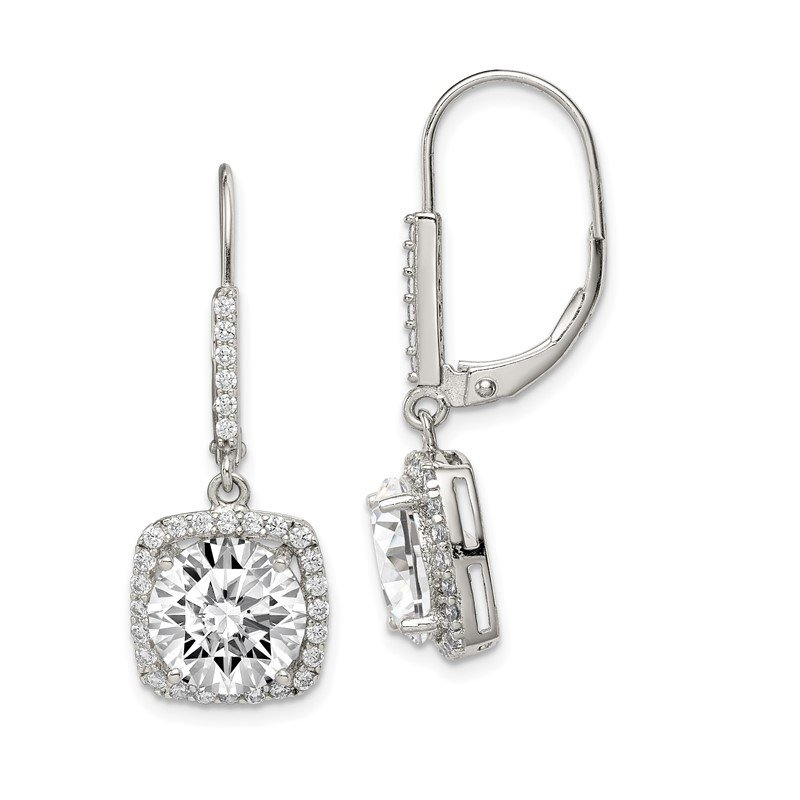Quality Gold Sterling Silver Rhodium-plated Polished CZ Dangle Earrings