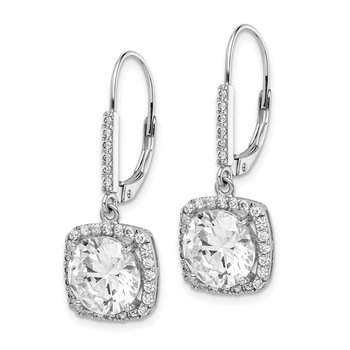 Sterling Silver Rhodium-plated Polished CZ Dangle Earrings