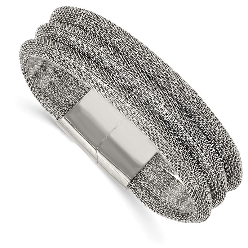 Chisel Stainless Steel Polished Mesh 3-Strand 7.5in Bracelet