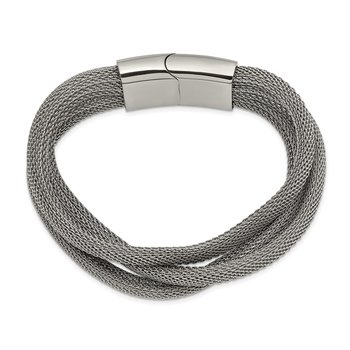 Stainless Steel Polished Mesh 3-Strand 7.5in Bracelet