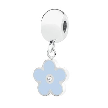 316L stainless steel light blue enamel and Swarovski® Elements white crystal.