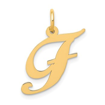 14K Medium Fancy Script Letter F Initial Charm