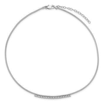 Sterling Silver Rhodium-plated CZ w/2in Ext Round Omega Necklace