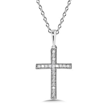 Bezeled Diamond Cross Pendant