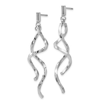 Leslie's 14k White Gold Polished Twisted Post Dangle Earrings