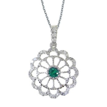 14k White Gold Emerald and .05 ct Diamond Wheel Pendant