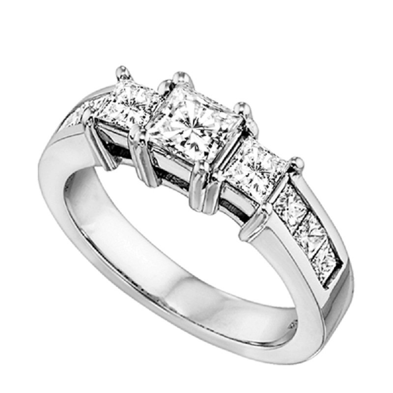 Gemsone 14K P/Cut Diamond 3 Stone Plus Ring 1/2 ctw