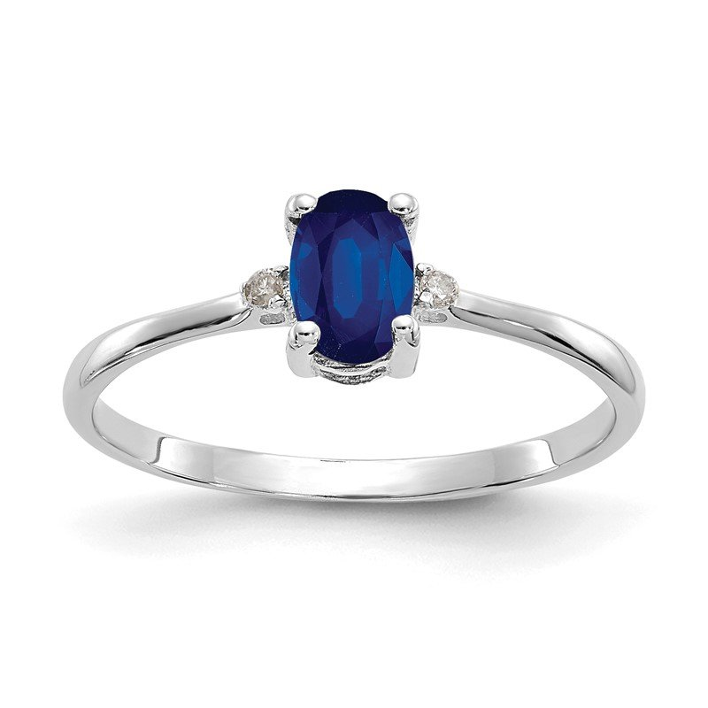 Quality Gold 10k White Gold Polished Geniune Diamond & Sapphire Birthstone Ring