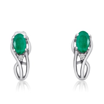14K White Gold Curved Emerald and Diamond Earrings