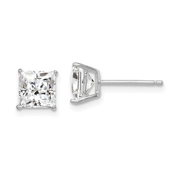 Sterling Silver Rhodium-plated CZ 6mm Square Post Earrings