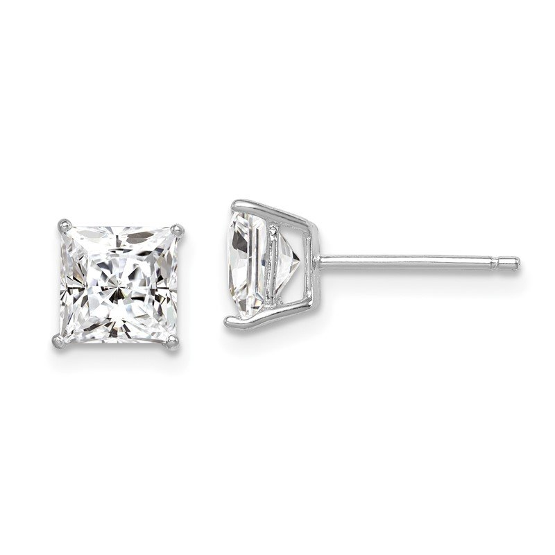 Quality Gold Sterling Silver Rhodium-plated CZ 6mm Square Post Earrings