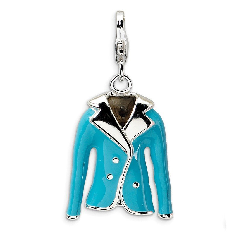 Quality Gold Sterling Silver 3-D Enameled Blue Jacket w/Lobster Clasp Charm