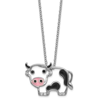 Cheryl M Sterling Silver CZ Enamel Cow 18in. Necklace