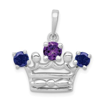 Sterling Silver Amethyst & Iolite Polished Crown Pendant
