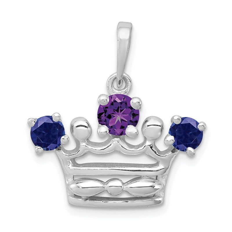 Quality Gold Sterling Silver Amethyst & Iolite Polished Crown Pendant
