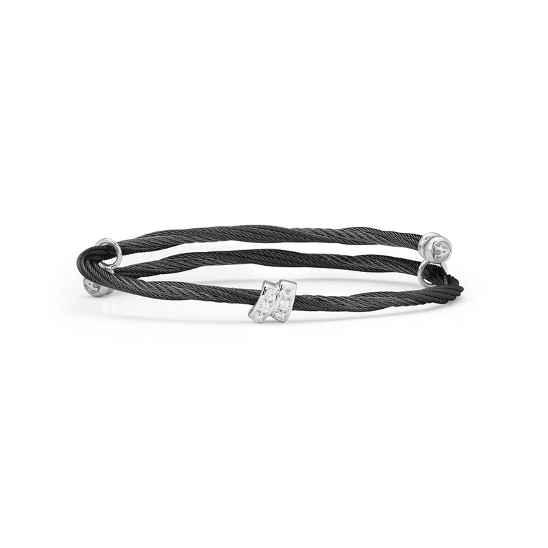 ALOR Black Cable Flex Size Bracelet with Square Diamond Station set in 18kt White Gold