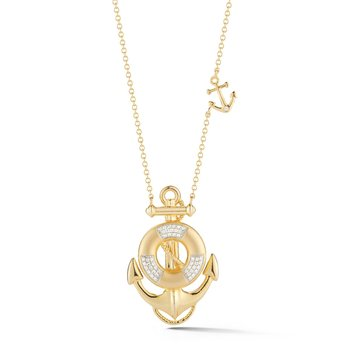 "Unique life saver with anchor in 14K  with 45 diamonds 0.15ct. 1 1/4"" long"