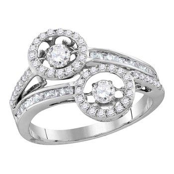 10kt White Gold Womens Round Diamond Moving 2-stone Hearts Together Bridal Wedding Engagement Ring 7/8 Cttw