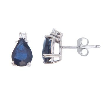 14k White Gold Pear Shape Sapphire And Diamond Earrings