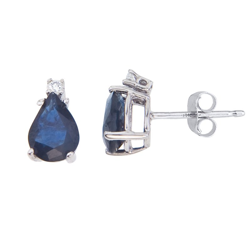 Color Merchants 14k White Gold Pear Shape Sapphire And Diamond Earrings