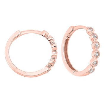 14K Rose Gold Mixable Bezel Diamond Earrings 1/7CT