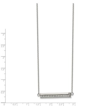 Stainless Steel Polished with CZ Bar 18in with 1in ext. Necklace