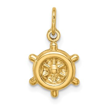 14k Polished Hollow Ship Wheel Charm