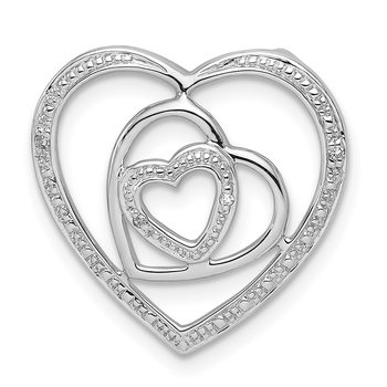 Sterling Silver Rhodium Plated Diamond Triple Heart Pendant