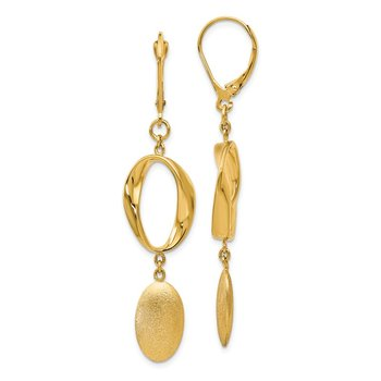 Leslie's 14k Polished Scratch-finish Leverback Earrings