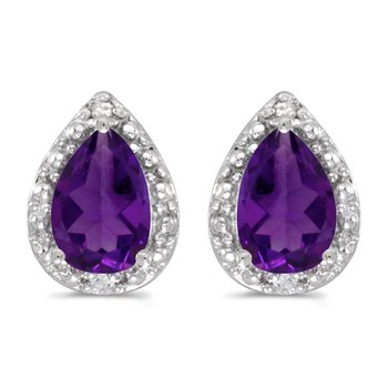 14k White Gold Pear Amethyst And Diamond Earrings
