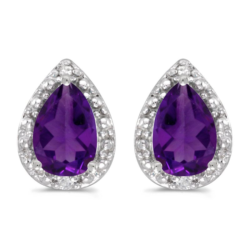 Color Merchants 14k White Gold Pear Amethyst And Diamond Earrings